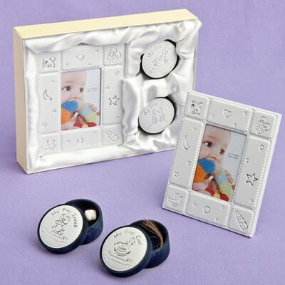 baby frame curl tooth unisex keepsake set