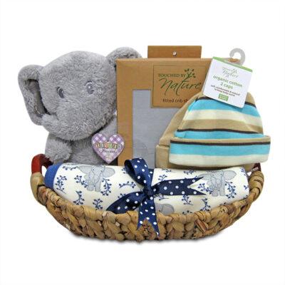 elephant organic Cotton baby boy hamper