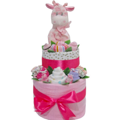 pink giraffe double layer cake