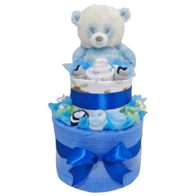 cute panda baby boy double layer nappy cake